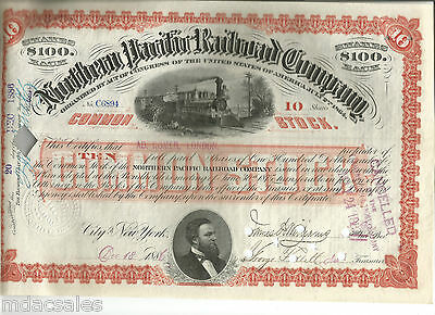 1886 Northern Pacific Railroad Company Stock Certificate (cancelled)