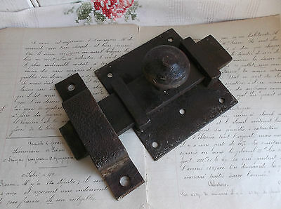 French antique 19th century hardware  iron latch lock slide bolt with receiver