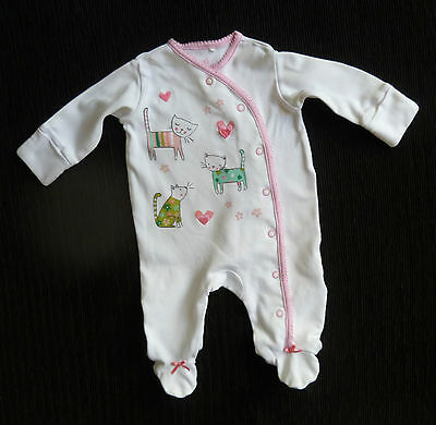 Baby clothes GIRL newborn 0-1m NEXT cartoon cats/hearts white pink aqua babygrow
