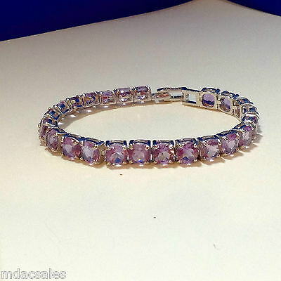 "NEW! 7¼"" Sterling Silver Natural Amethyst Bracelet 29.21 ct"
