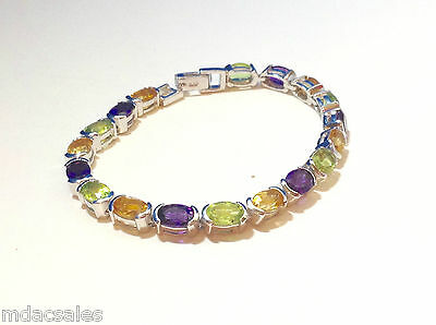 "NEW! 7"" Sterling Silver Bracelet w/ Natural Amethyst, Peridot, Citrine 14.04ct"