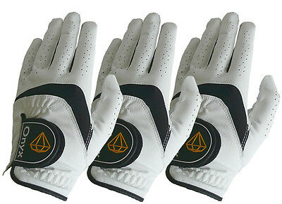 New Onyx Mens' Golf Gloves 3 Pack ... All Weather... Left Hand Large...White