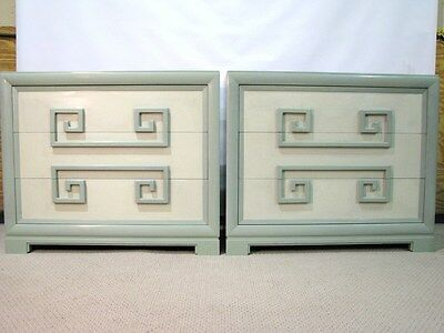 Iconic Pair of Kittinger Sea-Foam Green Mandarin Greek Key Chests Regency Style