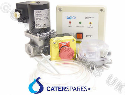 COMMERCIAL KITCHEN GAS INTERLOCK SYSTEM KIT WITH 1.3cm GAS SOLENOID VALVE 15mm