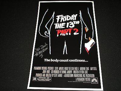 STEVE DASH Signed Friday the 13th Part 2 11x17 Poster Autograph Jason Voorees A