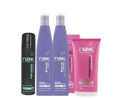 NAK Blonde Shampoo & Conditioner + Ultimate Treatment 150ml and High Volume