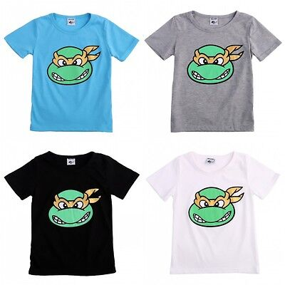Summer Kids Baby Boys TMNT Short Sleeve Solid Tops T-shirt Clothes Size 2T-7T