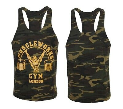 Mens Gym Stringers vest Tank Top Army Vest t-shirt Muscle Gym Wear Camouflage