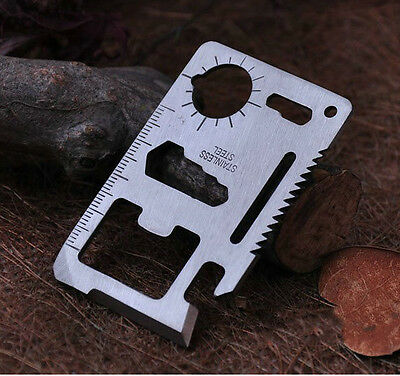 Multi Pocket Tools 11 in1 Hunting Survival Camping Army Credit Card Knife Silver