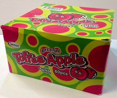BOX OF 60 PIECES TOFFEE APPLE 12g BARS SOFT CHEWY CANDY NET WEIGHT 720g