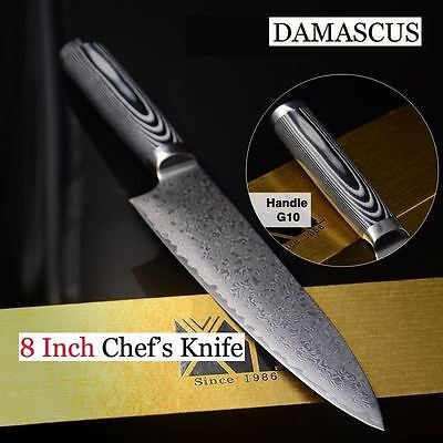 8'' Japanese Damascus Steel Chef Knife Kitchen Knives G-10 Handle Special Offer