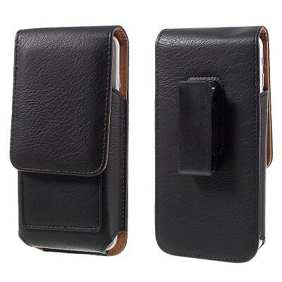 "5.5/5.7"" Phone Screen Black Leather Card Id Swivel 360` Belt Clip Case Holder"