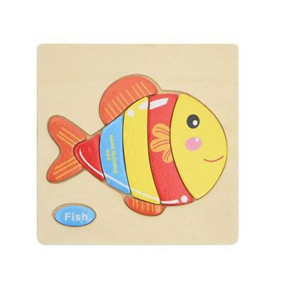 Wooden Cartoon Fish Blocks Toddler Baby Kids Children Educational Toy Puzzle