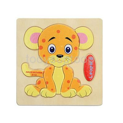 Wooden Cartoon Leopard Blocks Toddler Baby Kids Child Educational Toy Puzzle