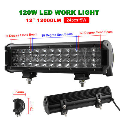 12Inch 120W Led Work Light Bar Spot Flood Combo Offroad 4WD ATV Driving Lamps