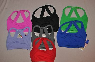Nwt Bal Togs Child sizes Halter Tactel spandex  Bra Crop Dance Top #SIL87192C