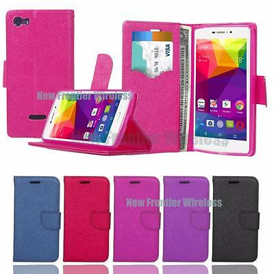 For BLU Life One XL (X030Q) Leather Wallet w Cards Slot Case + Screen Protector