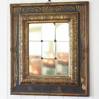 Antique 19th Century Italian Giltwood Mirror. Highly Unusual and Rare. Painted.