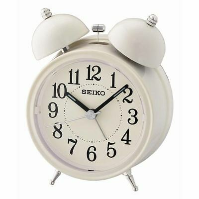 Seiko QHK035C Quiet Sweep Second Hand Bell Alarm Clock with Light & Snooze New