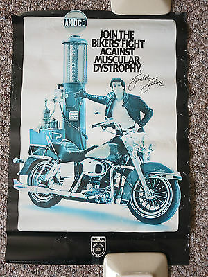 "Harley-Davidson Poster 1982 MDA Sylvester Stallone, 14"" x 20"", Faded"