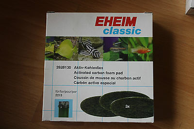 NEW EHEIM 2628130 CLASSIC 2213 Carbon Foam Pads x 3. AquariumNEW