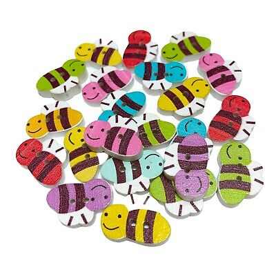 50 Wood Bumble Bee Buttons - Craft - Scrapbook - Sewing - Cards - Embellishments