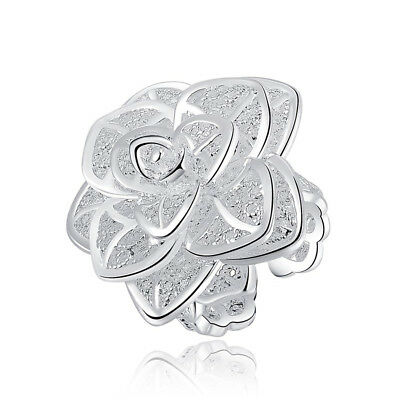 Silver Plated Rings Nice Top Fashion Flower Hot Chic Open Jewelry Finger Band r