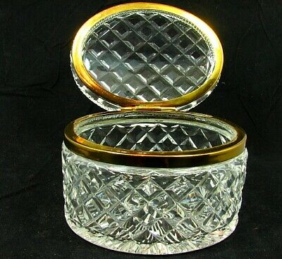 ANTIQUE FRENCH CUT CRYSTAL JEWELRY BOX * OVAL * HIGH QUALITY c. 1920'S