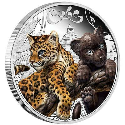 2016 The Jaguar Cubs Tuvalu 1/2 oz SIlver Proof 50c Half Dollar Coin Colorized