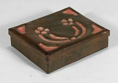 Arts & Crafts copper box with peach enamel hand hammered possibly Boston Society
