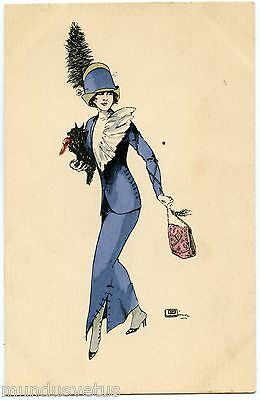 Artist Signed. G. Leonnec. Jolie Femme. Woman. Chapeau. Hat. Mode Fashion