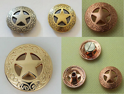 3/4'' 21mm Western Concho Texas Star Saddle Conchos Silver Glod Brass Wholesale