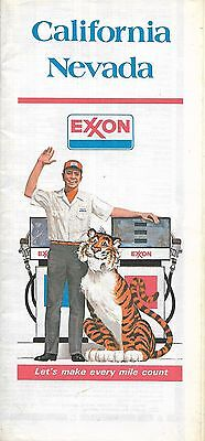 1977 EXXON Tiger Road Map CALIFORNIA NEVADA Lake Tahoe Los Angeles Las Vegas