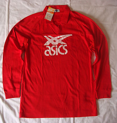 Vintage 1980s Asics volleyball shirt jersey, Size L, Red, BNWT