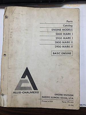 Allis Chalmers parts catalog 2800 2900 engines