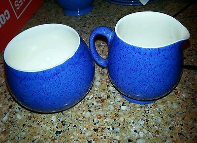 MOORCROFT Powder Blue Cream & sugar Speckle Glaze Vintage circa 1920s c41