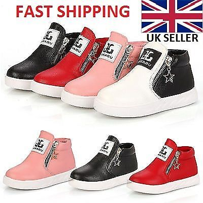 Girls-Boys Toddler Casual Synthetic Leather Trainers Ankle Boots Kids Zip Shoes