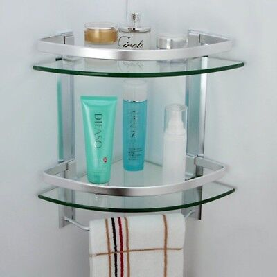 BATHROOM GLASS Corner Shelf 2 Tier Shower Caddy with Towel Bar Bath ...