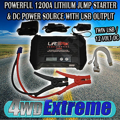 Lithium Jump Starter And Dc Power Source Supply Charger Usb 12V  Lfp-Pak 1200A
