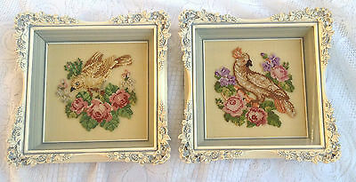 2 Bird & Flowers Petit Point - Antiqued Grey Framed and under Glass (756)