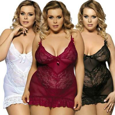 Lingerie Plus Size Chemise + G String White Black Burgundy XL - 7XL Lace Bridal