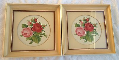 2 Framed Petit Point - red/pink roses/flowers - matted/framed under glass (759)