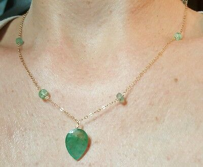 Pear 4ct Zambian Emerald Necklace pendant solid 14k gold