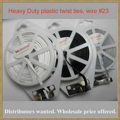 Heavy Duty - 65ft (20m) White Flat Plastic Twist Tie roll with cutter - White