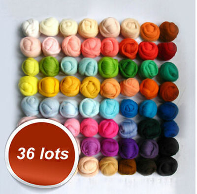 36 Colors Roving Needle Felting Hand Spinning Sewing Trimming Merino Wool Fibre
