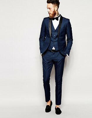 Custom Made Fashion Men Suits Blue Slim Fit Groom Formal Wedding Suits Tuxedos