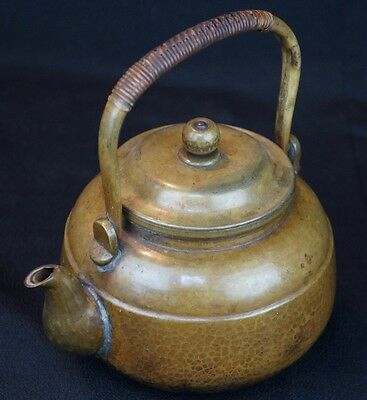 Antique bronze kettle hand made Japan craft 1800s Tea Ceremony Japanese Dobin