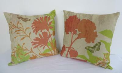 Set of 2 Matching Orange & Green Butterfly Linen Look Cushion Covers 45cm