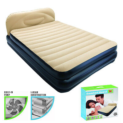Bestway Inflatable Comfort Quest Soft Back Elevated Air Bed Airbed Builtin Pump