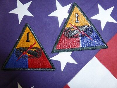 PATCH INSIGNE ORIGINAL WW2 1ST ARMORED DIVISION ( NORMANDIE blinde char tank